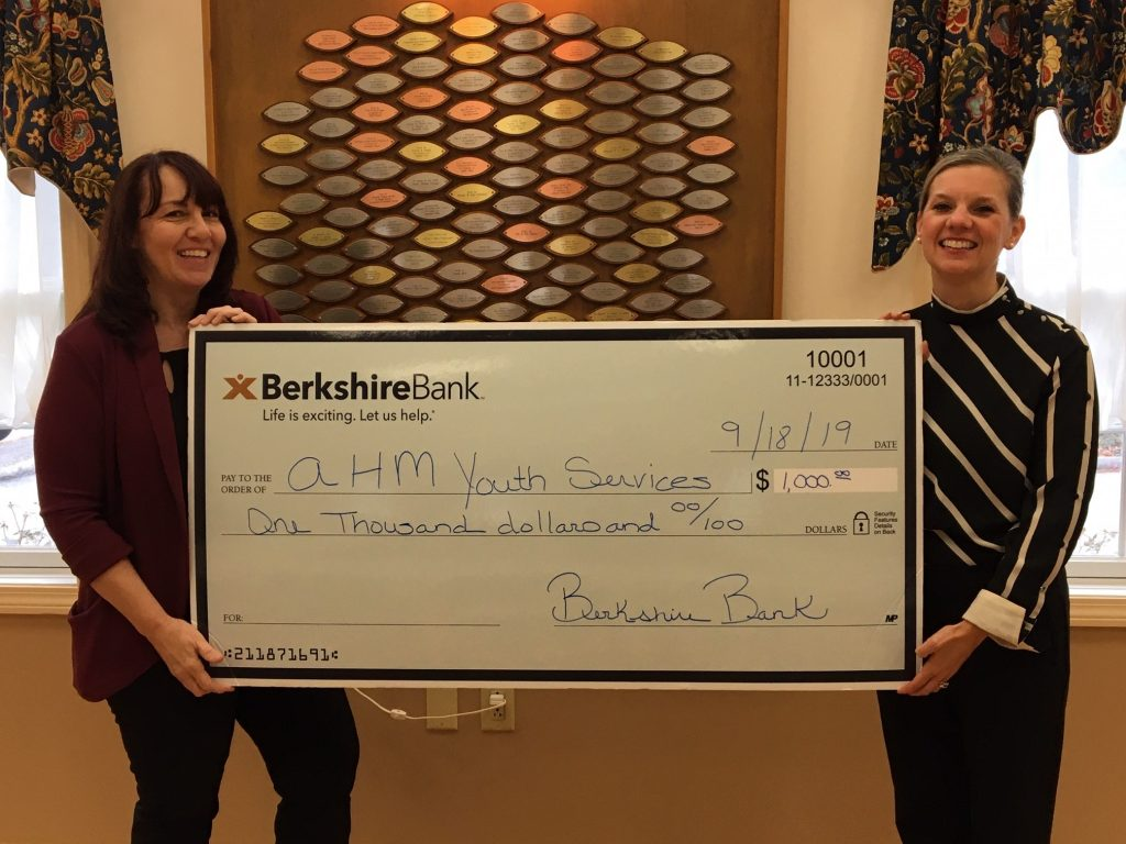 AHM Receives $1,000 from Hebron's Berkshire Bank during #GivingTuesday